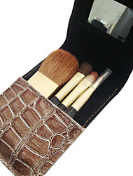 4 Pcs Wool Makeup Brush Set with Free Black Case