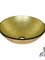 ronde et dorée trempé vasque en verre avec bague de montage et l'évacuation des eaux (0888-blée-6470)