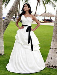 Lan Ting A-line/Princess Plus Sizes Wedding Dress - Ivory Floor-length One Shoulder Satin/Taffeta
