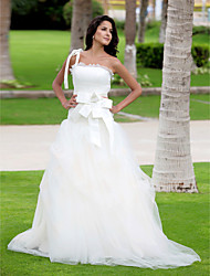 Lanting A-line One Shoulder Floor-length Tulle Wedding Dress