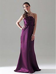 Floor-length Strapless Bridesmaid Dress - Open Back Sleeveless Satin