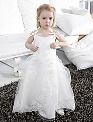 Lanting Bride Ball Gown Floor-length Flower Girl Dress - Satin / Tulle Sleeveless Spaghetti Straps withAppliques / Bow(s) / Flower(s) /