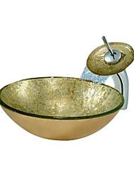 or évier rond récipient en verre trempé avec robinet cascade (0888-c-blée-6527-wf)