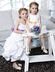 A-Line Princess Ankle Length Flower Girl Dress - Taffeta Sleeveless Spaghetti Straps with Draping by LAN TING BRIDE®