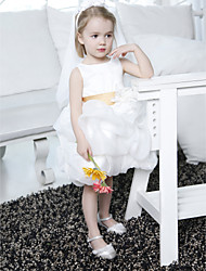 Ball Gown Knee-length Flower Girl Dress - Satin/Organza Sleeveless