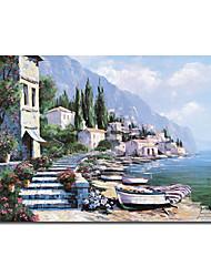 ручная роспись масляной живописи пейзажа с натянутой кадра