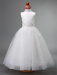 A-line Ball Gown Princess Floor-length Flower Girl Dress - Satin Tulle Bateau with Beading Draping