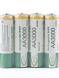 BTY 3000mAh AA Ni-MH Rechargeable Battery Set (4-pack)