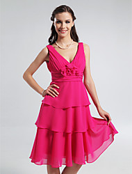Lanting Bride® Knee-length Chiffon Bridesmaid Dress - A-line / Princess V-neck / Straps Plus Size / Petite withFlower(s) / Side Draping /