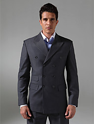Custom Made Double Breasted Six-button Peak Lapel Non-vented Men's suit