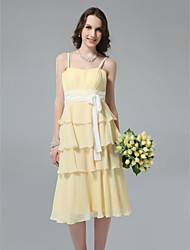 Lanting Bride® Tea-length Chiffon Bridesmaid Dress - Sheath / Column Spaghetti StrapsApple / Hourglass / Inverted Triangle / Pear /