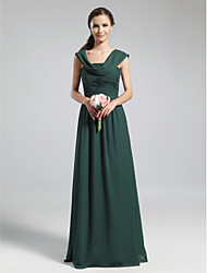 Lanting Bride® Floor-length Chiffon Bridesmaid Dress - A-line Cowl Plus Size / Petite with Draping / Ruching / Pleats