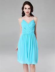 LAN TING BRIDE Knee-length V-neck Spaghetti Straps Bridesmaid Dress - Open Back Sleeveless Chiffon