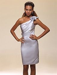 Sheath / Column One Shoulder Knee Length Satin Graduation Cocktail Party Homecoming Holiday Dress with Flower