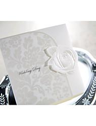 Wedding Invitation With White Rose Tri-folded (Set of 50)