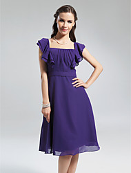 LAN TING BRIDE Knee-length Square Bridesmaid Dress - Elegant Short Sleeve Chiffon