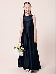 Floor-length Satin Junior Bridesmaid Dress - Dark Navy A-line / Princess Jewel