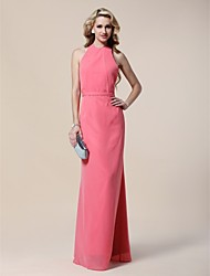 TS Couture® Formal Evening / Military Ball Dress - Watermelon Plus Sizes / Petite Sheath/Column Halter Floor-length Chiffon