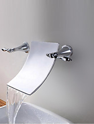 Chrome Finish Waterfall Bathroom Sink Faucet (Wall Mount)