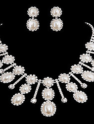 Gorgeous Imitation Pearls Wedding Bridal Jewelry Set, Including Necklace, Earrings