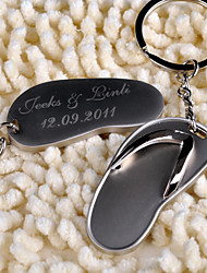 Stainless Steel Keychain Favors-6 Piece/Set Keychains Beach Theme Personalized Silver