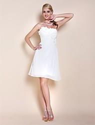 Une ligne de princesse bretelles sweetheart genou longueur chiffon robe de graduation avec fleur de fleur par ts couture®