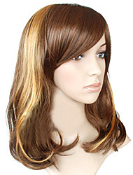 Capless Long Top Grade Quality Synthetic Chocolate Brown with Golden Curly New Hair Wig