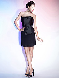 TS Couture® Cocktail Party / Holiday Dress - Little Black Dress Plus Size / Petite Sheath / Column Strapless Short / Mini Chiffon / Satin with Ruffles