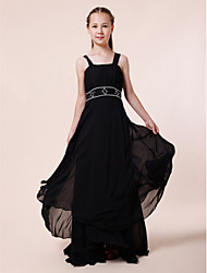 LAN TING BRIDE Floor-length Chiffon Junior Bridesmaid Dress Sheath / Column Straps Empire with Beading Draping