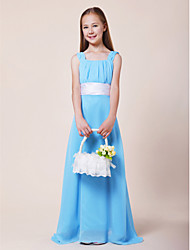LAN TING BRIDE Floor-length Chiffon Stretch Satin Junior Bridesmaid Dress A-line Square Straps Natural with Draping Sash / Ribbon Ruching