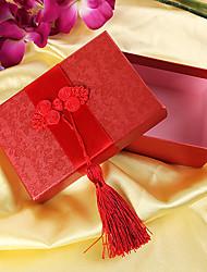 asiatique boîte-cadeau de style avec des glands rouges (set of 6)