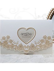 Royal Lace & Heart Cutout Embossed Wedding Invitation (Set of 50)