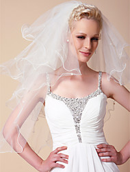 Four-tier Elbow Wedding Veils With Pearl Trim Edge