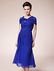 Women's Wrap Capelets Sleeveless Chiffon Royal Blue Wedding / Party/Evening / Casual Scoop Beading / Draped Hidden Clasp