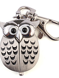 Unisex Lovely Owl Style Stainless Steel Case Analog Keychain Watch Cool Watches Unique Watches