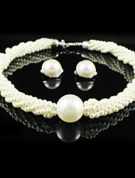 Gorgeous Alloy With Imitation Pearl Wedding Bridal Jewelry Set Including Necklace And Earrings