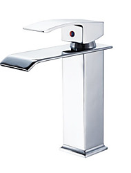 Contemporary Waterfall Bathroom Sink Faucet (Chrome Finish)