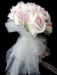 Elegant Satin Round Shape Wedding Bridal Bouquet