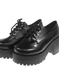 """solas skid 2,75 """"cone calcanhar sapatos pretos pu lolita"""