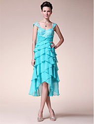 A-line Plus Sizes / Petite Mother of the Bride Dress - Pool Tea-length / Asymmetrical Sleeveless Chiffon / Lace
