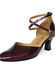 Non Customizable Women's Dance Shoes Modern/Latin/Ballroom Leatherette Low Heel Black/Red/Gold/Silver