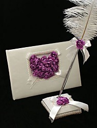 Guest Book Pen Set Satin Garden ThemeWithFeather Petals