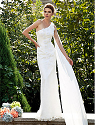 Lanting Bride Trumpet/Mermaid Petite / Plus Sizes Wedding Dress-Sweep/Brush Train One Shoulder Lace