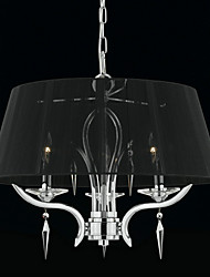 Elegant Crystal Chandelier with 3 Lights in Black Shade