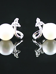 925 Sterling Silver With Freshwater Pearl Stud Earrings (More Colors)