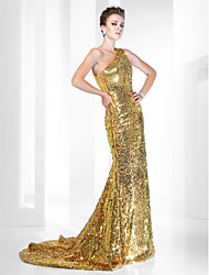Mermaid / Trumpet One Shoulder Sweep / Brush Train Sequined Formal Evening Dress with Sequins by TS Couture®