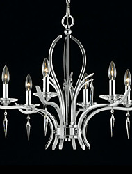 Elegant Crystal Chandelier with 6 Lights in Candle Bulb