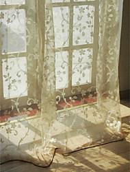 european Wohnzimmer Blumen Botanik beige zwei Platten Gardinen Schattierungen
