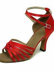 Non Customizable Women's Dance Shoes Latin/Ballroom Satin Stiletto Heel Red