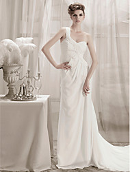 Lanting Sheath/Column One Shoulder Chapel Train Chiffon Wedding Dress